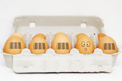 Eggs with same barcodes and one egg is different Stock Image