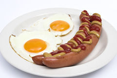 Eggs & sausage. Breakfast, cook, eggs, fat, fattening, food Stock Photos