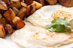Eggs, sausage and home fries breakfast Royalty Free Stock Photo