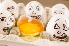 Eggs are scared of dead naber. Eggs scream as they see dead naber Royalty Free Stock Images
