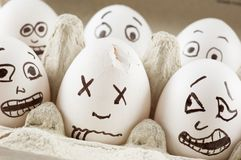 Eggs are scared of dead naber. Eggs scream as they see dead naber Royalty Free Stock Photos