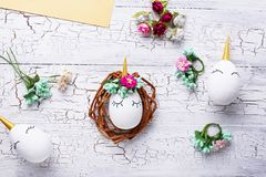 Eggs in shape of unicorn. Step by step. Easter handmade. Eggs in shape of unicorn. DIY step by step. Step 8. Final stock photography