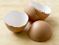 Eggs shell. On chopping block Royalty Free Stock Photography