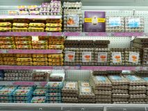 Eggs on shelves in the supermarket Royalty Free Stock Photo