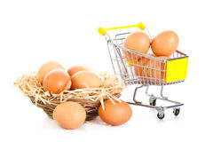Eggs and shopping trolly isolatedon white background food concept Royalty Free Stock Photos