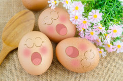 Eggs sleep in Expression Face Royalty Free Stock Photo
