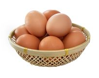 Eggs in a small basket Royalty Free Stock Images