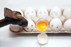 Eggs with smile and  hummer Stock Photography