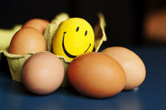 Eggs and smiley Stock Photography