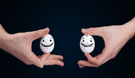 Eggs with smiley faces Stock Photography