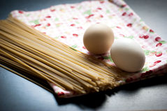 Eggs and spaghetti closeup Royalty Free Stock Images