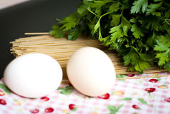 Eggs and spaghetti closeup Royalty Free Stock Photography
