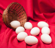 Eggs spilled from the basket Royalty Free Stock Image