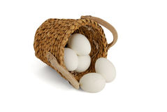 Eggs spilled from interwoven basket. From interwoven basket as concept of risk investment Royalty Free Stock Images