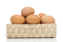 Eggs in square basket Stock Photography