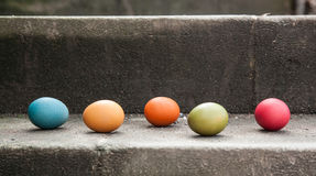 Eggs on the stair Stock Photography
