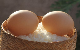 Eggs. On sticky rice  and bamboo box Stock Photo