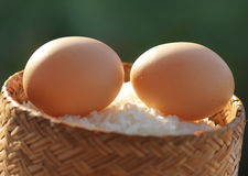 Eggs. On sticky rice in rice box Royalty Free Stock Photos