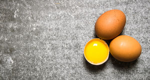 Eggs on stone background. Free space for text . Stock Photography
