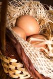 Eggs in the straw and basket Royalty Free Stock Photography