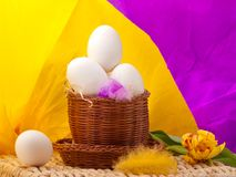 Eggs in straw basket with yellow and purple backgr Royalty Free Stock Photos