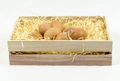 Eggs on straws. Eggs in wooden crate on straws stock images