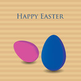 Eggs in striped background. Blue and pink eggs in striped background. Vector eps10 Stock Image