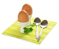 Eggs on a striped napkin Royalty Free Stock Image