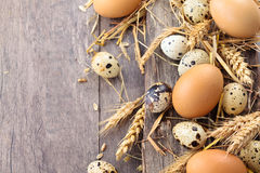 Eggs and strow. Royalty Free Stock Image