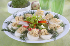 Eggs stuffed. With crab sticks Royalty Free Stock Photos