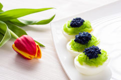 Eggs stuffed with caviar Royalty Free Stock Photo
