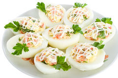 Eggs stuffed with red fish Royalty Free Stock Image