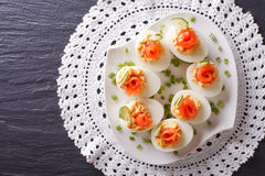 Eggs stuffed with salmon, cheese and cucumber. horizontal top vi Stock Photos
