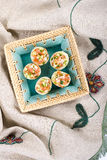 Eggs stuffed with vegetables Stock Photos