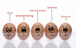 Eggs Style with emotional text Stock Images