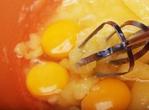Eggs and sugar in mixing bowl prepare for bake Stock Photography