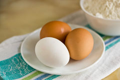 Eggs. On a table there are eggs for breakfast preparation Stock Image