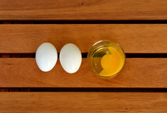 Eggs on the table. Eggs on a wood table Stock Image
