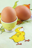 Eggs on the tablecloth. Boiled eggs to stand on the tablecloth Royalty Free Stock Image
