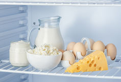 Eggs and tasty healthy dairy products Royalty Free Stock Images