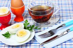 Eggs and tea Stock Image