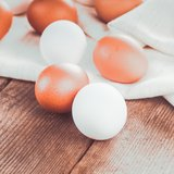 Eggs on textile Royalty Free Stock Photography