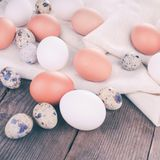 Eggs on textile Stock Photo