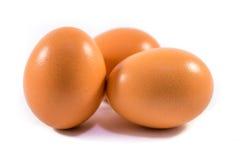 Eggs. Three eggs on a white background Stock Photo