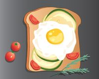 Eggs on toast with avocado and cherry tomatoes Stock Photography