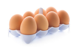 Eggs in the tray Stock Photos