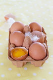 Eggs in a tray on yellow dot background Stock Photos