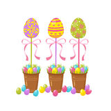 Eggs tree. Easter traditional element. Religious holidays symbols  on white background. Stock Images