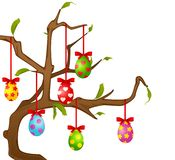 Eggs on the tree. Easter vector card Stock Photo