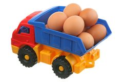 Eggs and the truck Stock Image